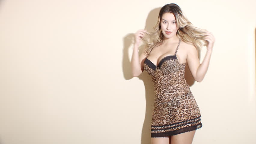 Sexy dancing woman in animal print lingerie - HD stock footage clip
