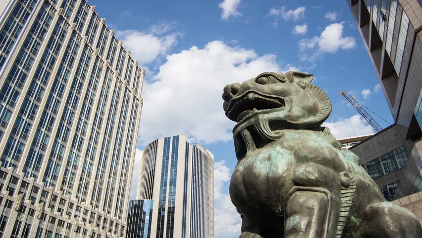 The bronze lion sculpture in Beijing Financial Street,Beijing,China - HD stock footage clip