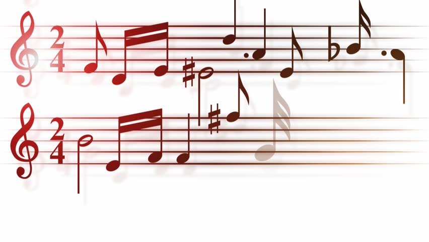 Fiery Treble Clef In Rainbow Flames: Looping Stave With Notes, Treble Clef, Sharp, Flat Stock