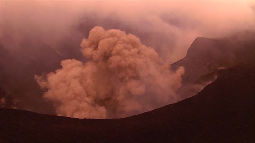 The Nyiragongo volcano by daylight in the Democratic Republic of Congo.