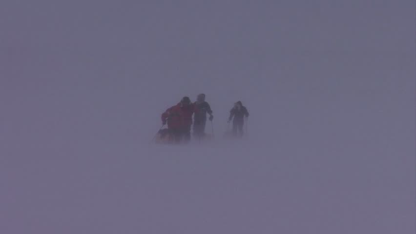 An Arctic expedition is lost in a blizzard.