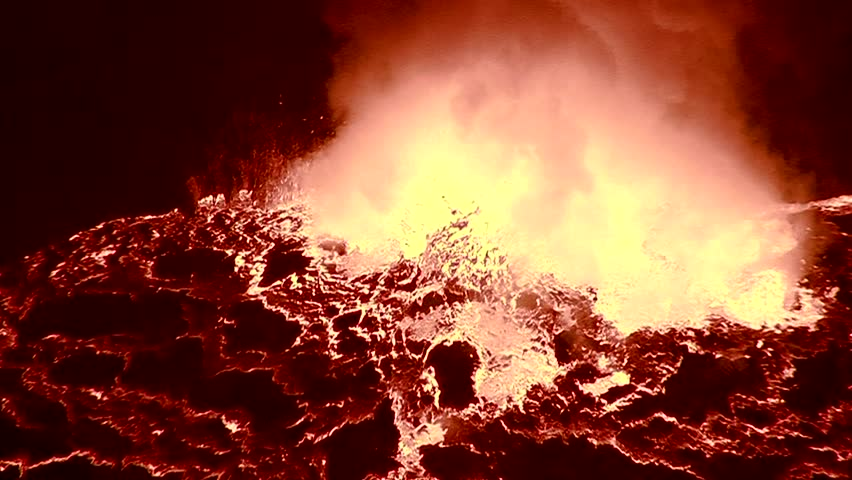 The spectacular Nyiragongo volcano erupts at night in the Democratic Republic of Congo suggests the fire of hell.