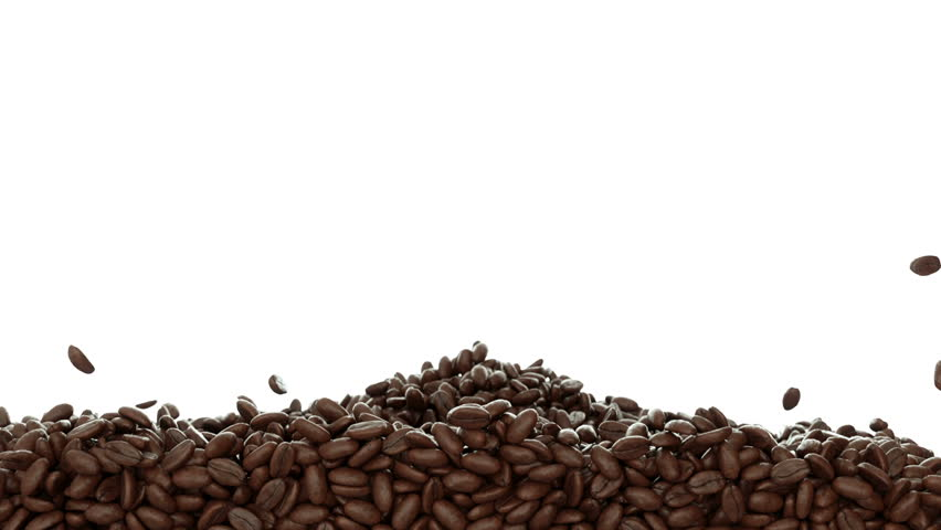 Roasted Coffee beans falling and mixing with slow motion. Alpha is included