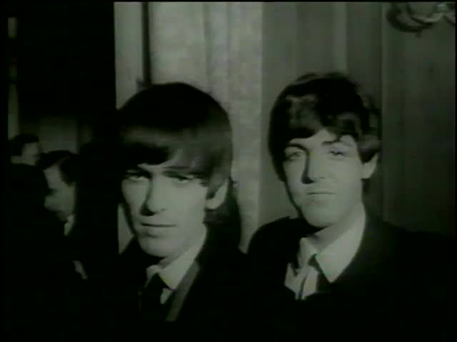 George Harrison, Paul McCartney,  Ringo Starr and John Lennon are arrived to Variety Club , the Dorchester Hotel, London circa 1964-MGM PICTURES, UNIVERSAL-INTERNATIONAL NEWSREEL, USA, filmed in 1964