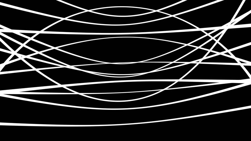 Chaotic Random White Circles Abstract Motion Black Background