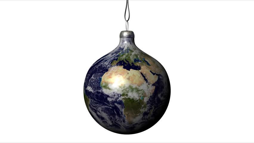Earth Globe Christmas Ball - HD stock video clip