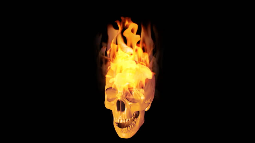 Flaming Skulls Version Two Looping Horror Or Halloween