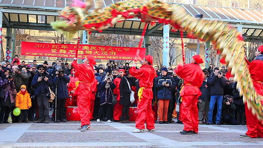 MILAN, ITALY - FEBRUARY 10: View of Chinese New Year parade in Milan on February 10, 2013