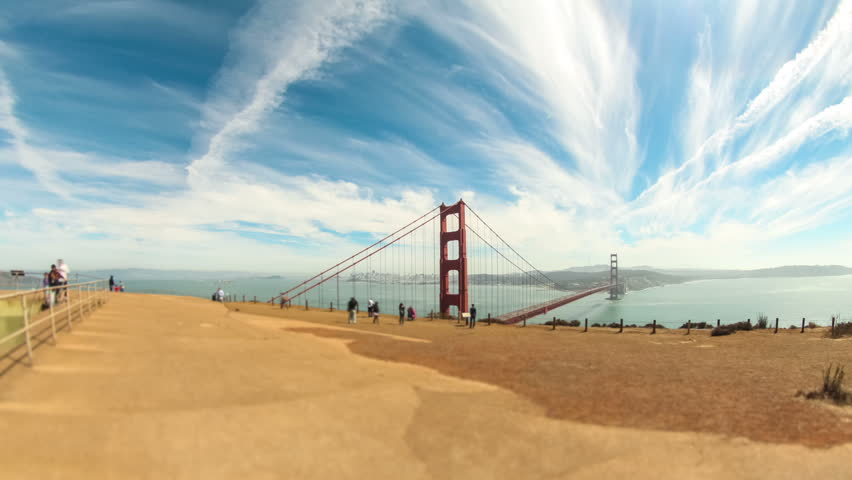 Wide time lapse of Golden gate bridge.
