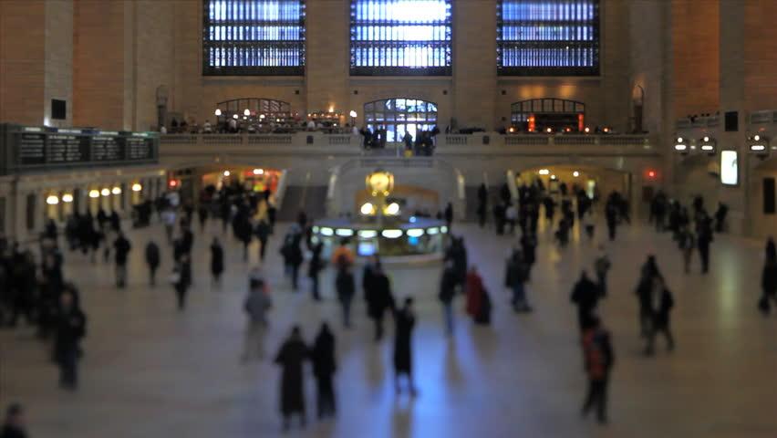 Grand Central Station pedestrian traffic using a tilt shift lens. Horizontal center in focus.