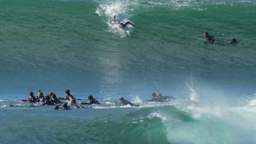 Surfer Rides Big Barrel, Wave Tube, Surfing