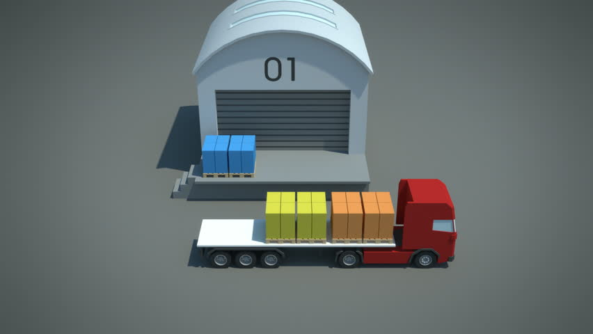 load / shipment consolidation strategies - multi-stop truckloads - stylized high quality 3d animation