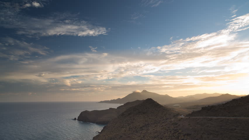 beautiful day to night sunset time lapseover the sea in cabo de gata, spain