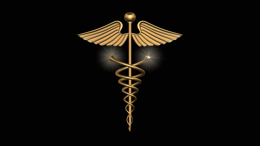 3d Logo of Animated caduceus in gold with snakes coiling up and opening wings - HD stock footage clip