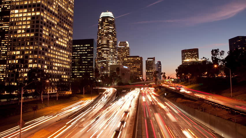 Long Exposure Time Lapse of Night Traffic in Los Angeles California