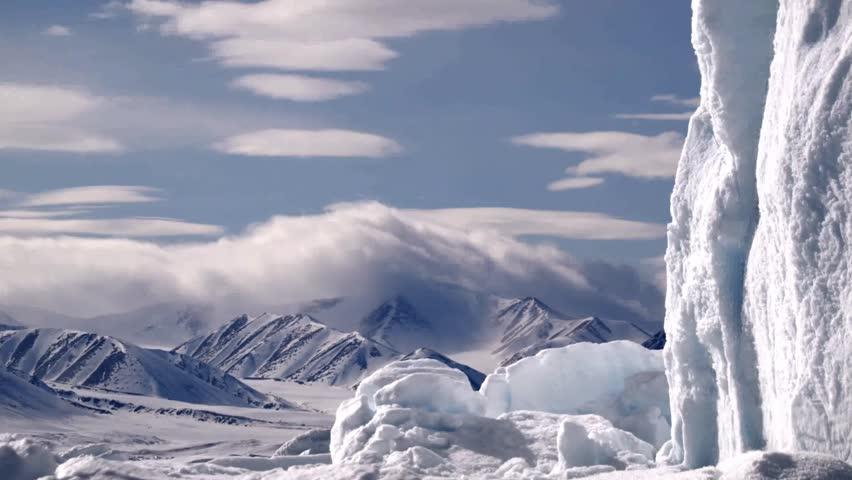 Time lapse of a mountainous Arctic landscape.