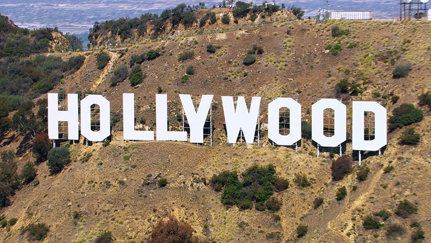 Los Angeles, California, USA - March 22, 2012: Aerial shot of the Hollywood sign