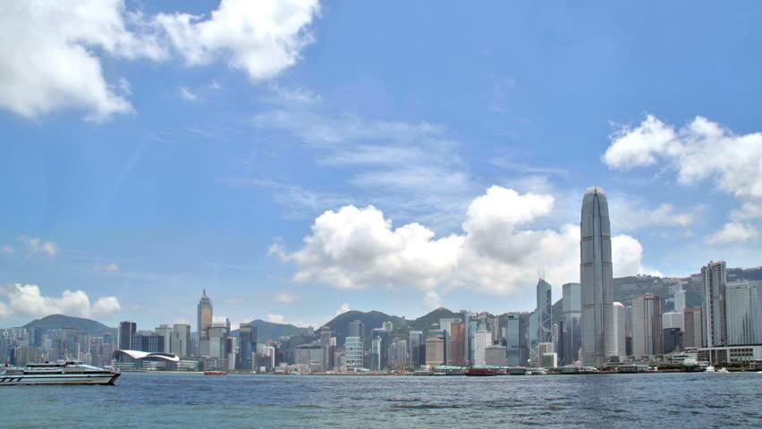 Hong Kong cityscape along Victoria Harbor | Shutterstock HD Video #505663
