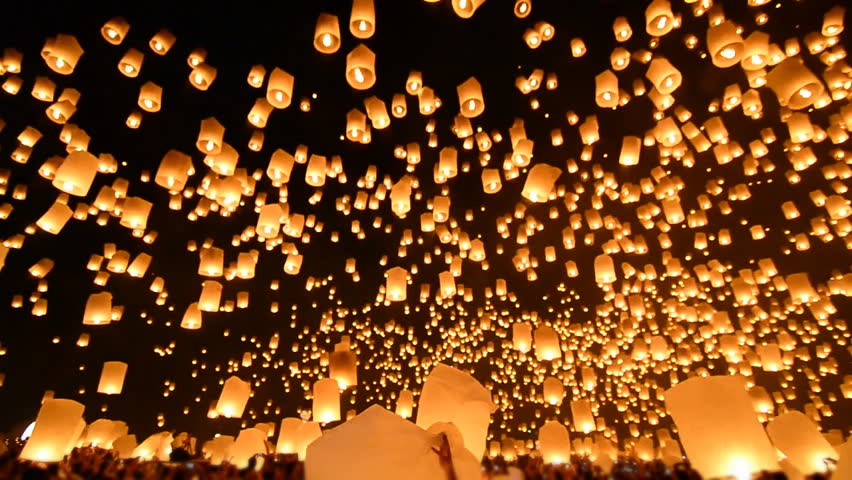 Loi Krathong Festival And Many Fire Lanterns Floating Of Chiang Mai Thailand (sound)