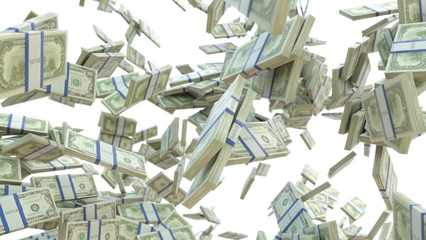 Wealth: dollar cash slow motion scattering on white. Alpha matte