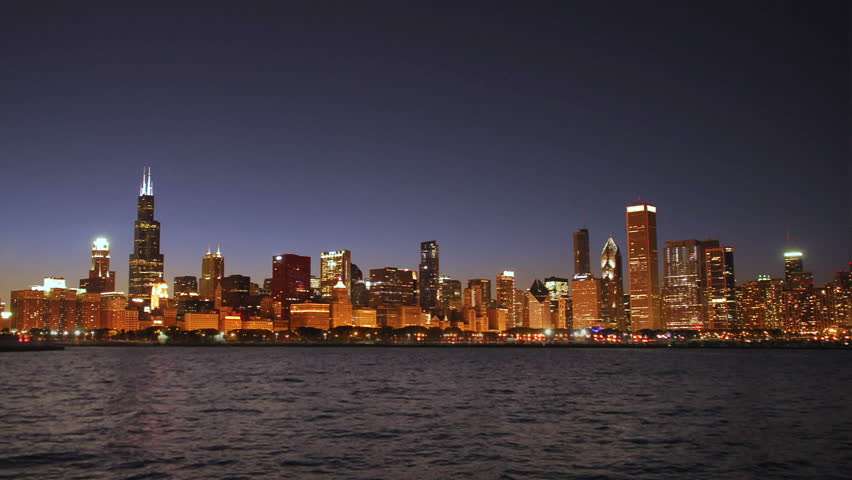 Chicago skyline at night on the lakefront