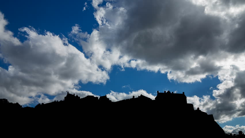 Edinburgh Castle back light timelapse (available in 4K)