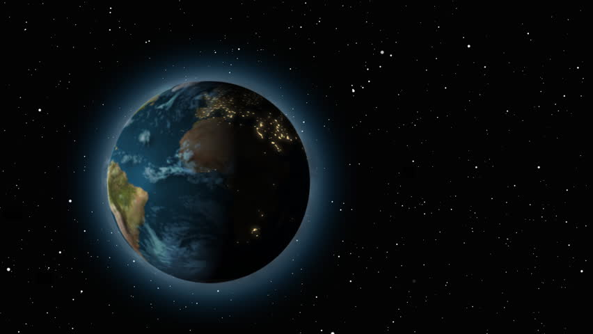 extremely realistic 3d Earth with city light / globe / world.  alpha mask included at end of clip. - HD stock footage clip