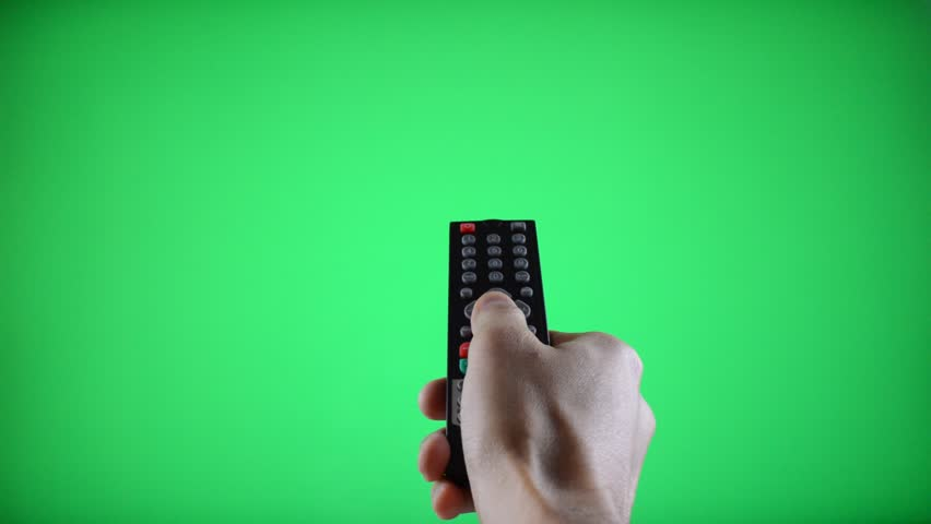 Remote Control Television changing three channels with Chroma Key Green Screen - HD stock footage clip