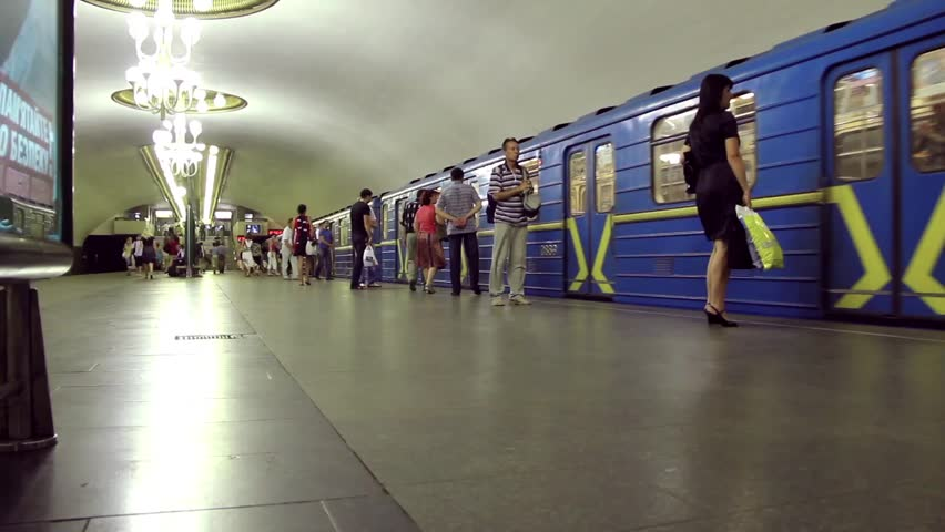 UKRAINE, KIEV, MARCH 7, 2011: People inside underground station in Kiev, Ukraine, March 7, 2011 - HD stock footage clip