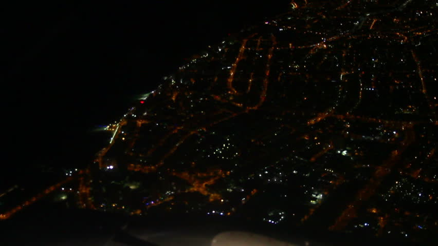 Night view shot from plane.