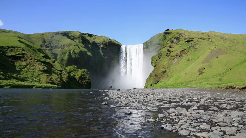 Wide angle view of Skogafoss waterfall on the South of Iceland near the town Skogar
