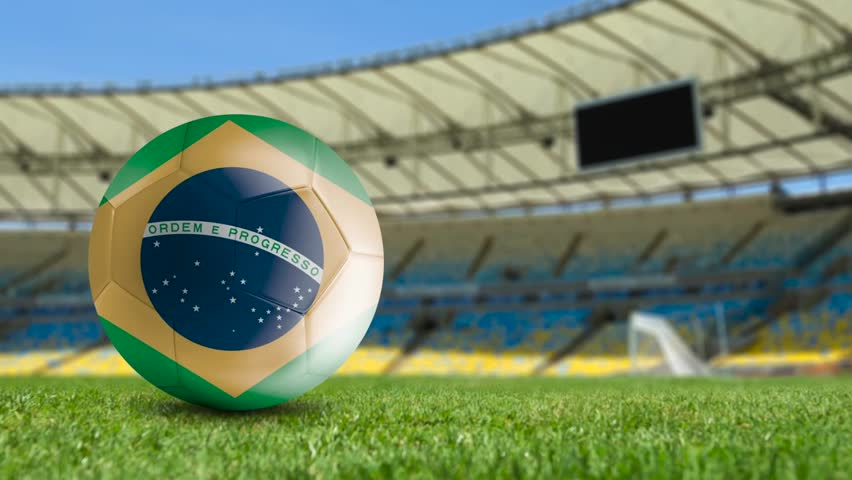 Brazilian soccer ball on the field - HD stock video clip