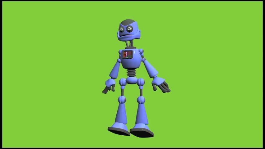 Crazy Robot walking toward the screen looking for something. Animation on green screen
