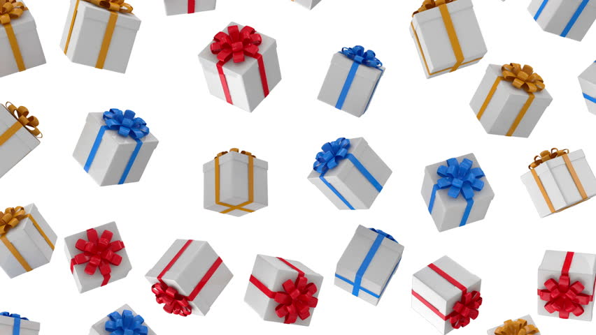 Animation of Falling Colorful Gift Boxes on white background. HQ Seamless Looping Video Clip with Alpha Channel