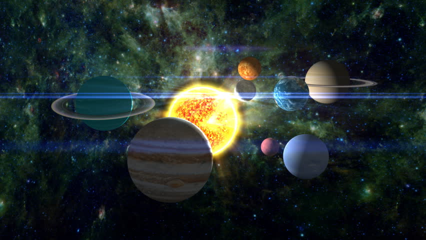 Approaching our solar system, with all the planets ...