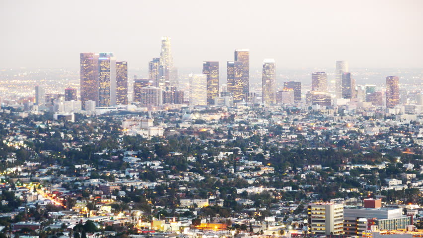 Time Lapse of Downtown Los Angeles Skyline at Twilight -Zoom In-