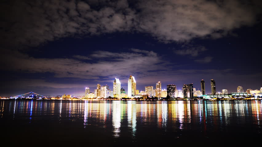 Time Lapse of San Diego Skyline at Night