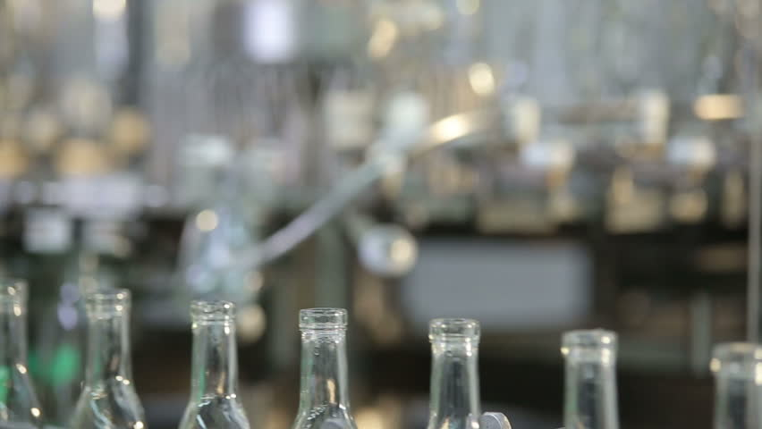 empty bottles at the plant - HD stock footage clip