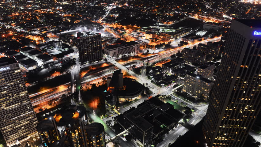 4K Time Lapse of Downtown Los Angeles at Night shot from High Angle -Zoom In-