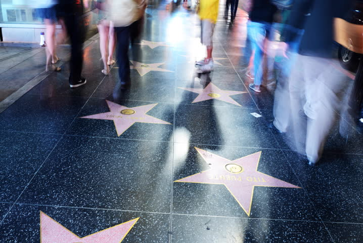 4K Night Hyper Lapse -Walk of Fame in Hollywood-