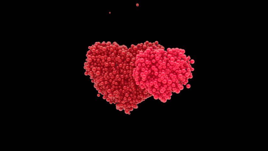 Assembly and disassembly hearts with spherical particles.