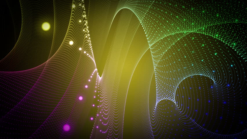 fantastic video animation with moving particle stripe wave object, 4096x2304 loop 4K