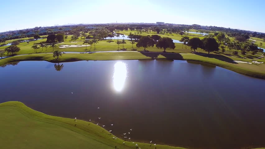 Aerial footage of a golf course - HD stock video clip