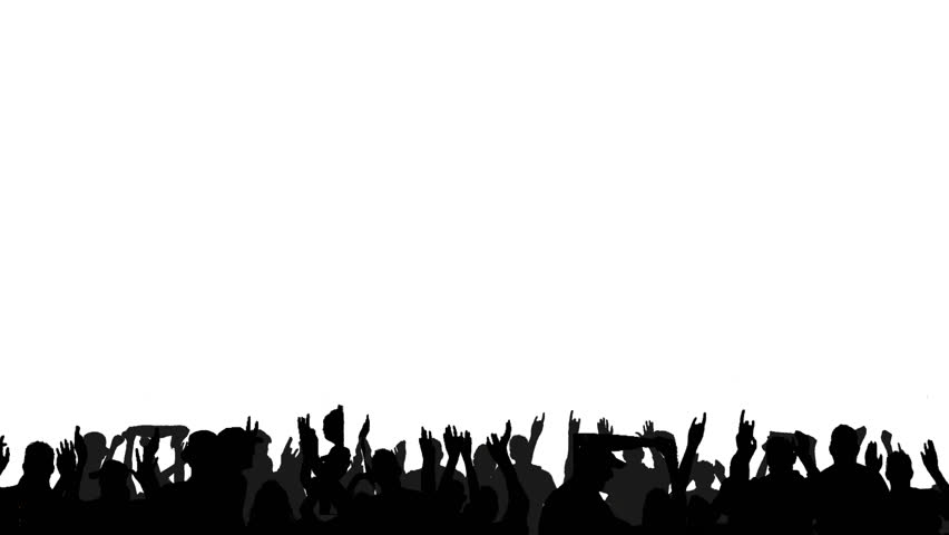 A crowd of dancing people, all in silhouette, on a white background with lots of copyspace. All persons depicted are seperate movements, creating a large dancing crowd.