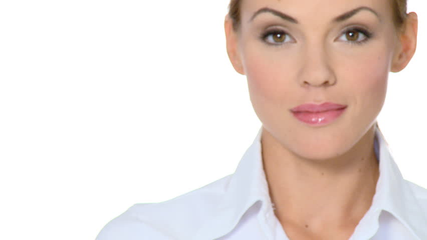 Beautiful young businesswoman showing thumb up for success  - HD stock video clip