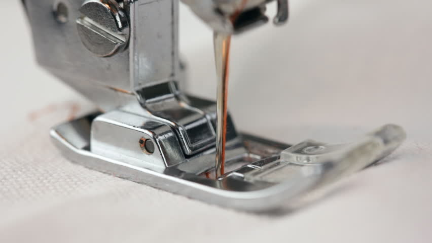 Working Part Of Sewing Machine In Action Stock Footage