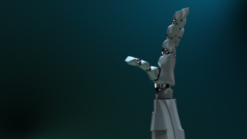 """Animated robot hand gesture """"OK"""" (diving related). Right side. Alpha channel. Depth of field."""