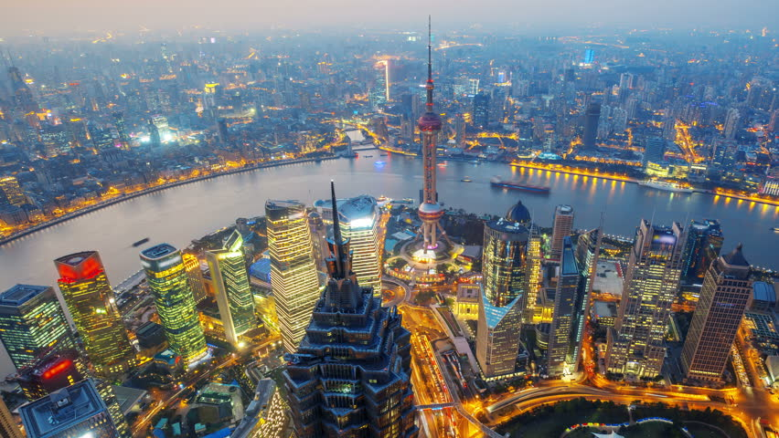 "Shanghai from day to night (Panning Shot, 4k Time-Lapse Video).  Aerial view of high-rise buildings with Huangpu River in Shanghai, China.  - >>> Please search similar: "" OverlookShanghai "" ."
