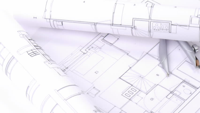 Architecture house plan background stock footage video for Paper for architectural drawings