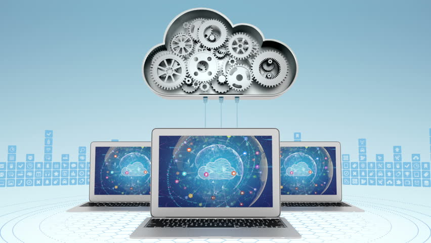 Cloud computing concept with three laptops